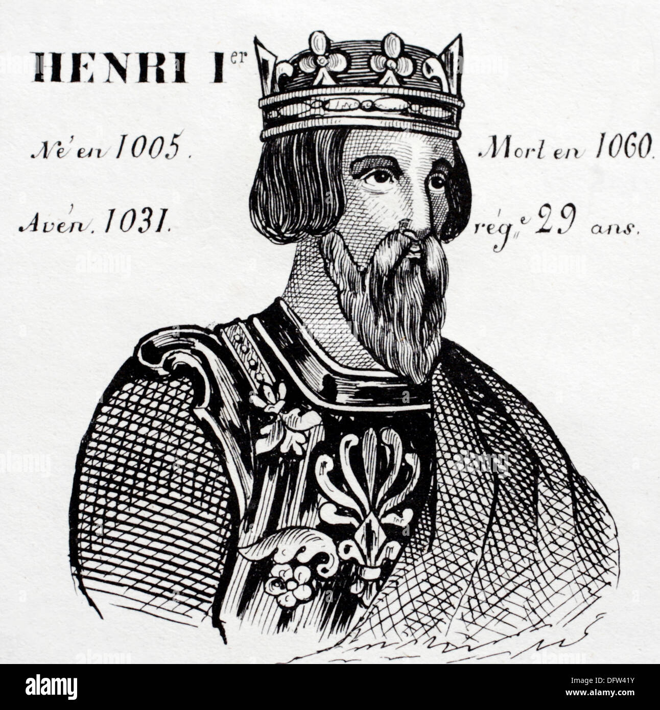 Henri 1st., king of France from 1031 to 1060. Histoire de France´ by J.Henry. Paris, 1842. Stock Photo