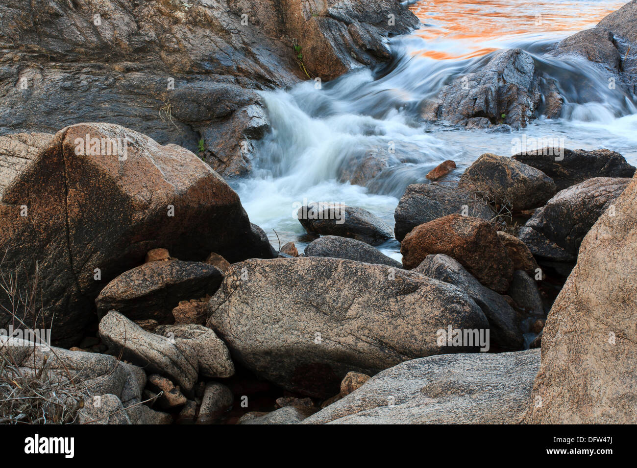 Cascades in Cache Creek in the 40 foot hole in the Wichita Mountains National Wildlife Refuge. - Stock Image