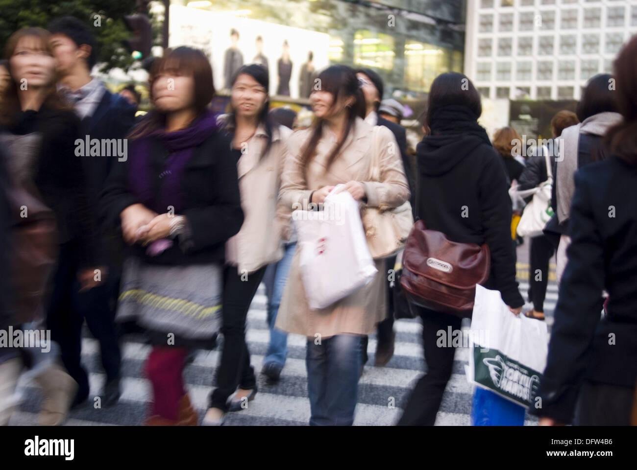 Zebra crossing in Shibuya district, Tokyo, Japan Stock Photo