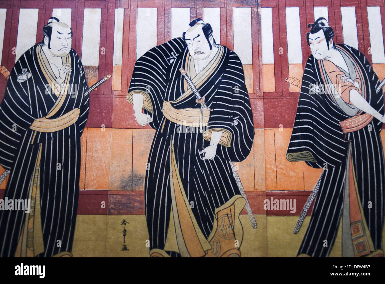 Ukiyo-e (Japanese woodblock prints) featuring ´kabuki´ (classical Japanese dance-drama) in the National Museum, Tokyo, Japan - Stock Image