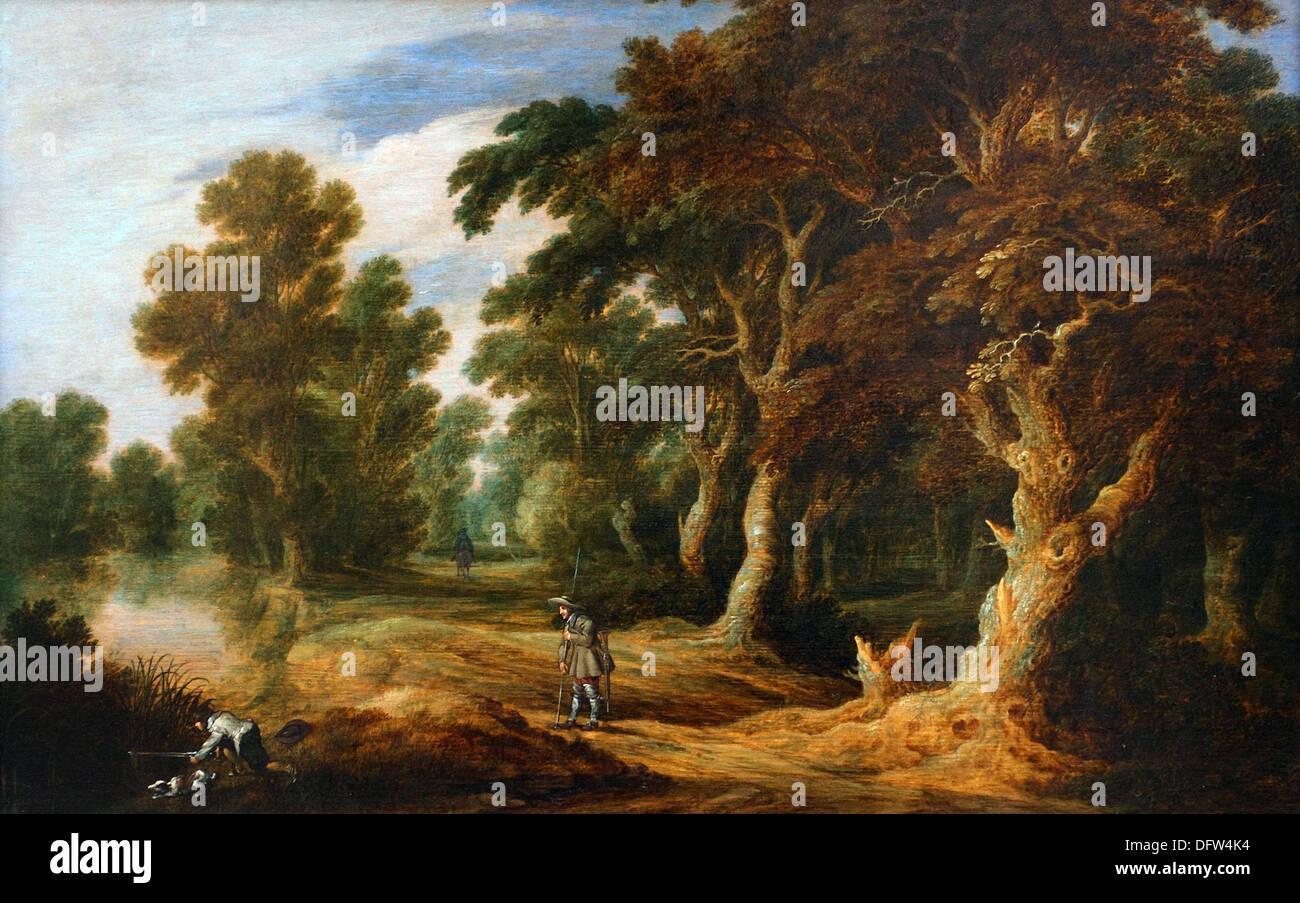 Alexander KEIRINCX - Forrest landscape - 1640 - Museum of Fine Arts - Budapest, Hungary. - Stock Image