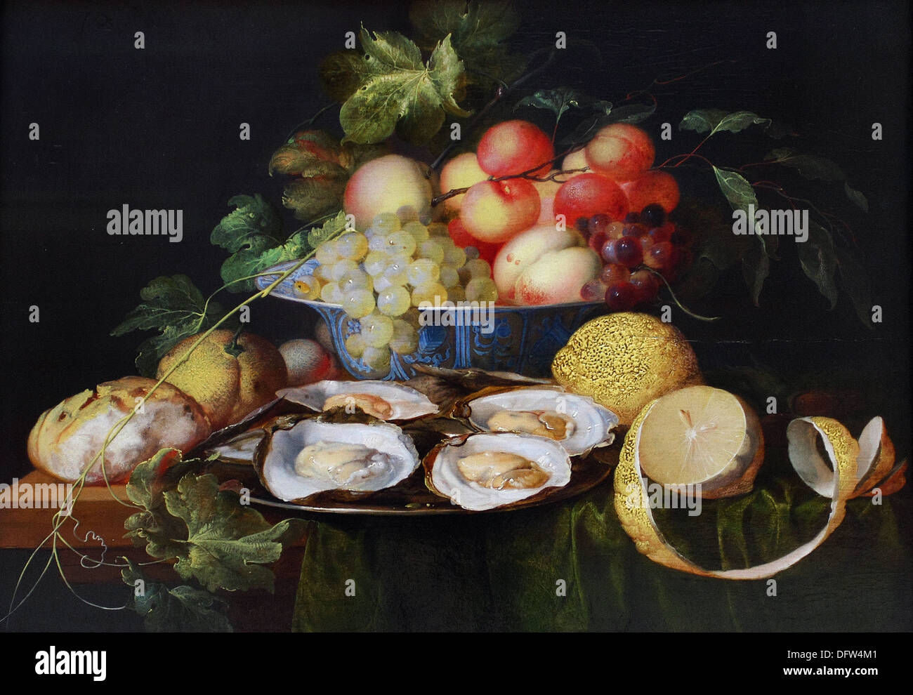 Jan Davidsz de HEEM - Still life with fruit and oysters - 1640 - Museum of Fine Arts - Budapest, Hungary. Stock Photo