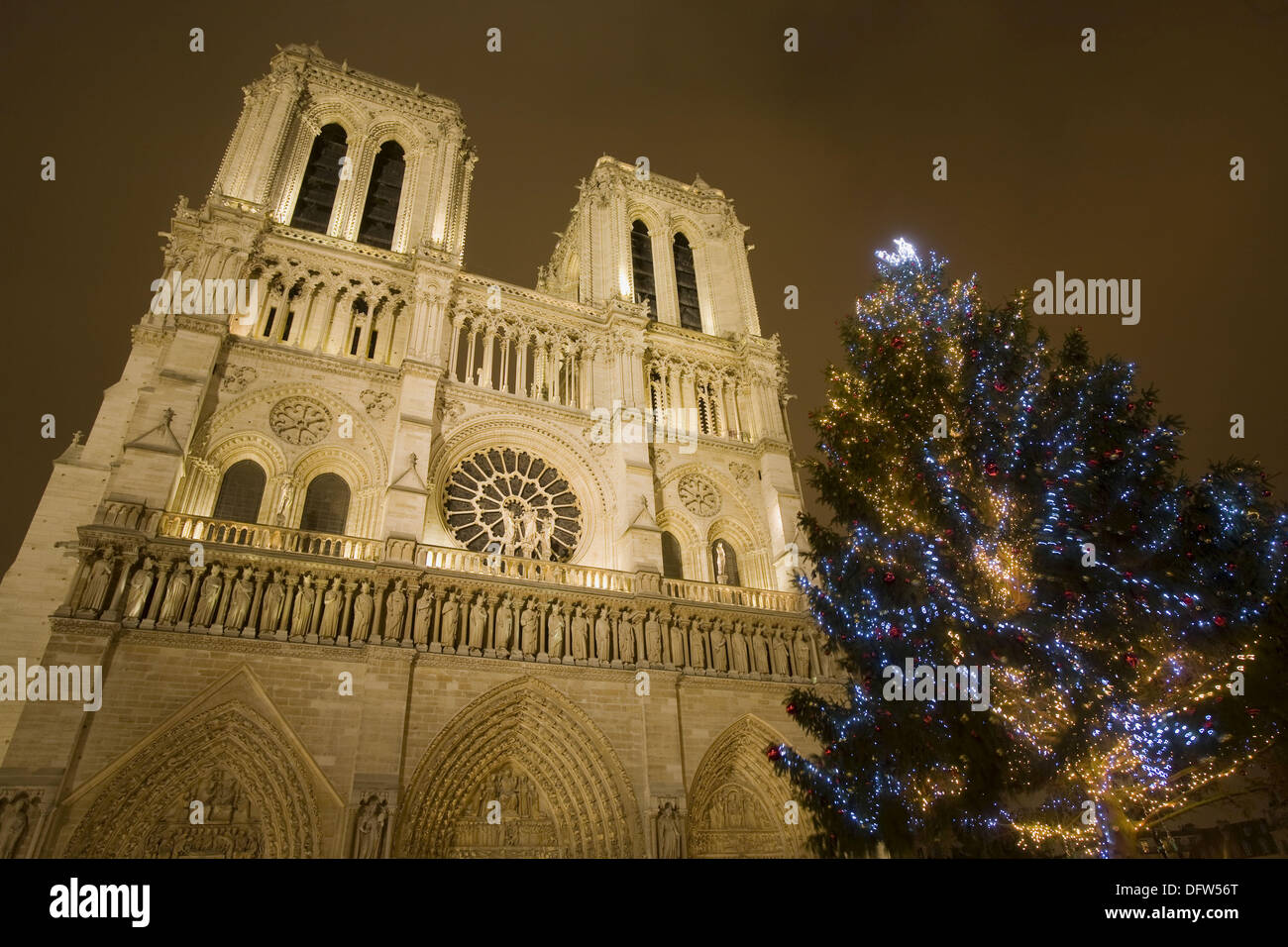 Christmas tree at Notre Dame cathedral, Paris, France Stock Photo ...