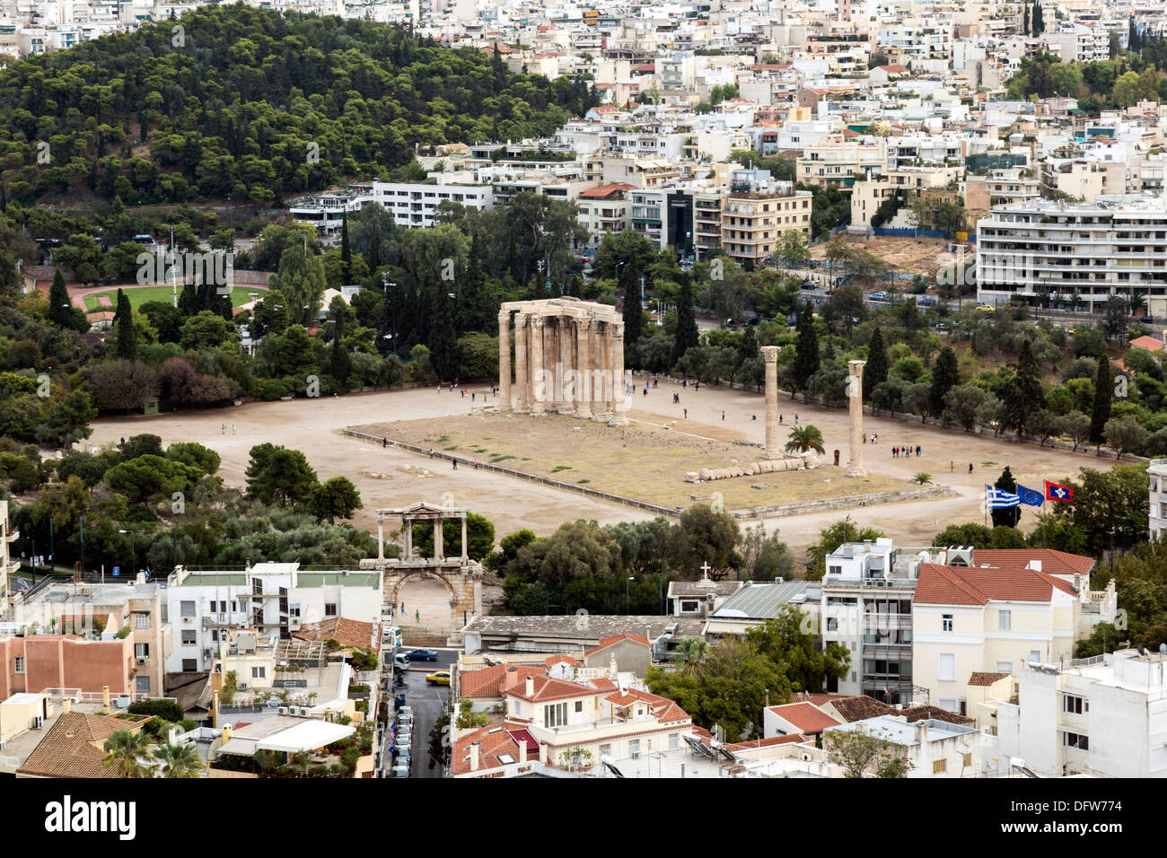 The Temple of Olympian Zeus as seen from Acropolis hill. Athens, Greece on October 4, 2013. - Stock Image