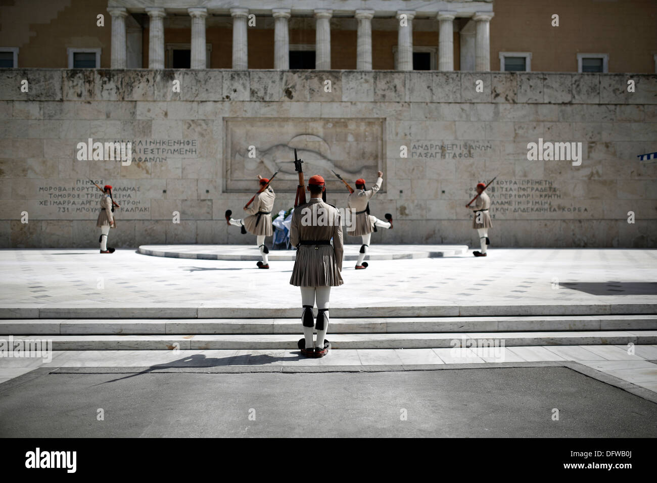Evzones perform the Changing of the guard ceremony at the Tomb of the Unknown Soldier in Syntagma Square in Athens, Stock Photo
