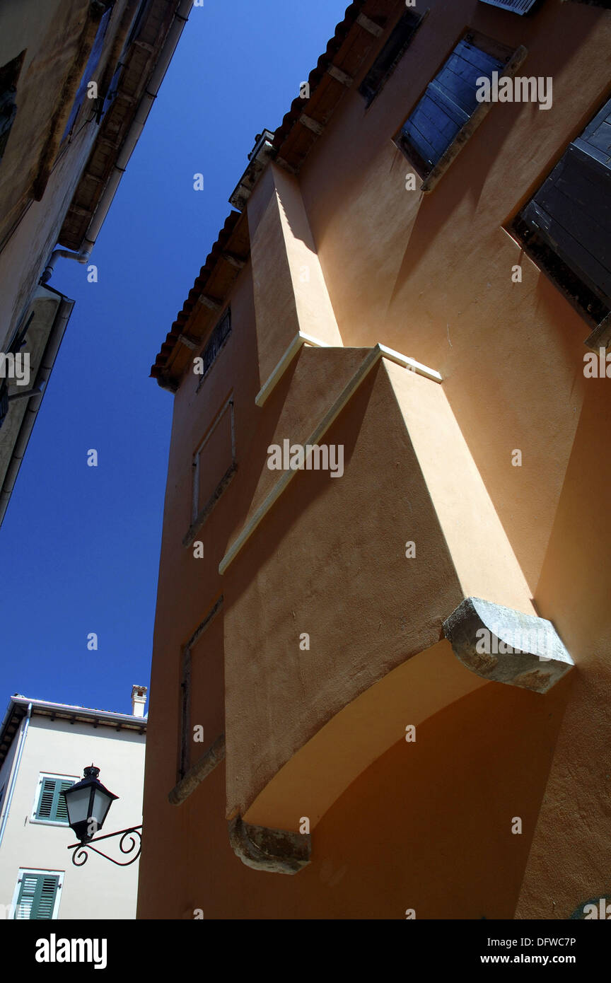 Exterior chimney (fumaioli), an architectural feature unique to Rovinj and developed as a consequence of a period of high - Stock Image