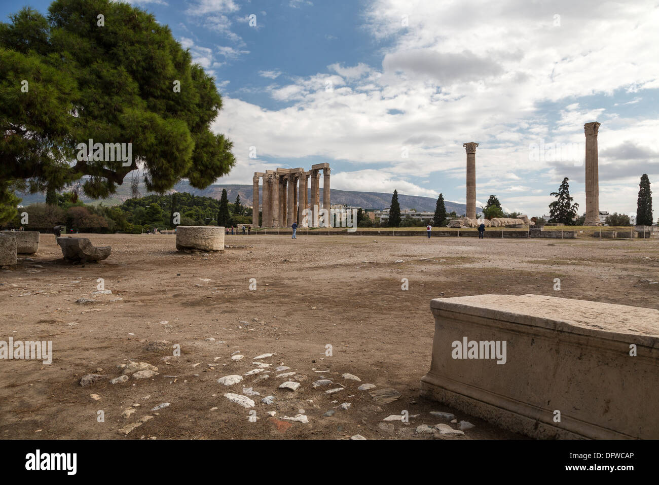 Temple of Olympian Zeus. Athens, Greece on October 4, 2013. - Stock Image