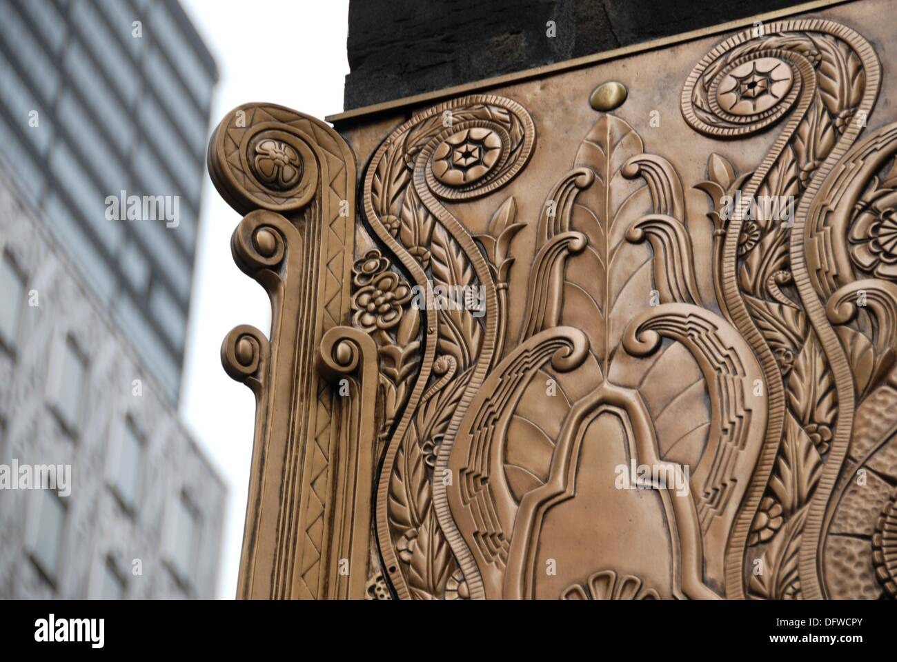 Art Deco metal work reliefs on the lower facade of the Chanin Stock ...
