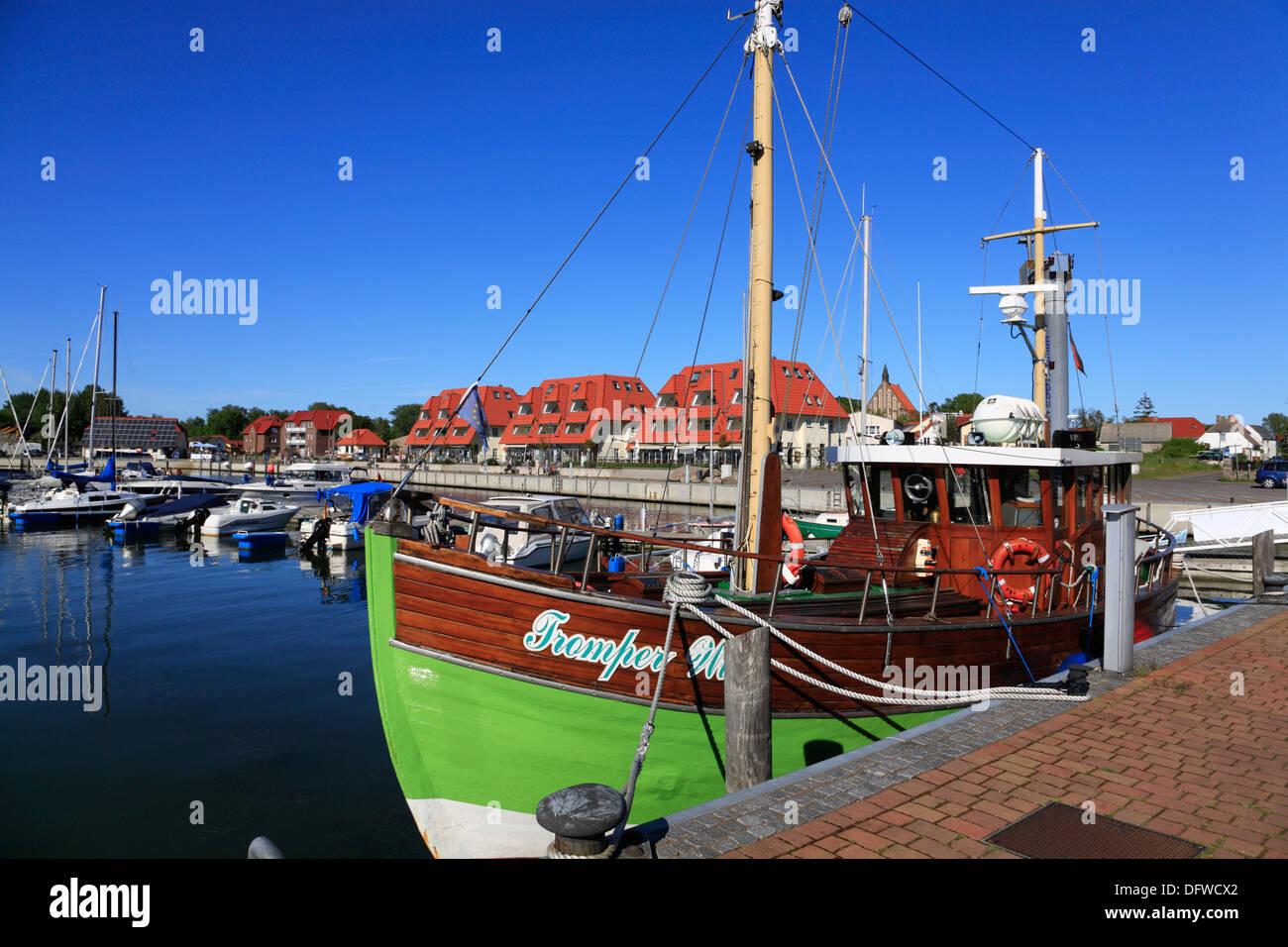 Trawler at  Wiek harbour, Ruegen Island, Baltic Sea Coast, Mecklenburg-Western Pomerania, Germany - Stock Image
