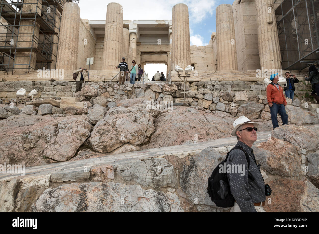 Tourists at Propylaea, the entrance of the Acropolis, in Athens, Greece on October 4, 2013 - Stock Image