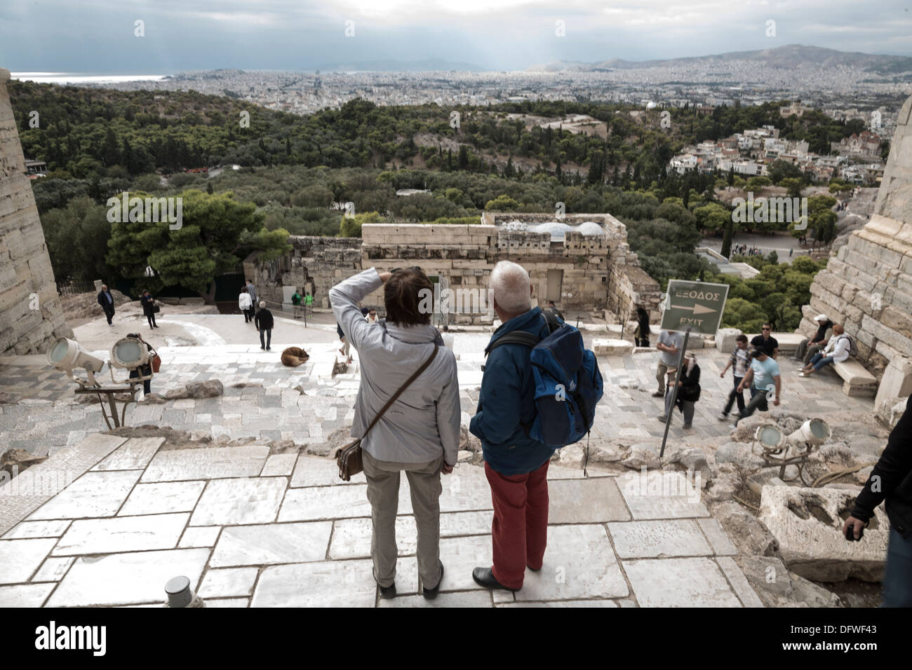 Tourists on the Acropolis. Athens, Greece on October 4, 2013 - Stock Image