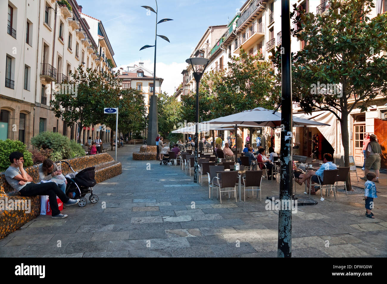 Part Of The Old Town San Sebastian Spain Filled With Open Air