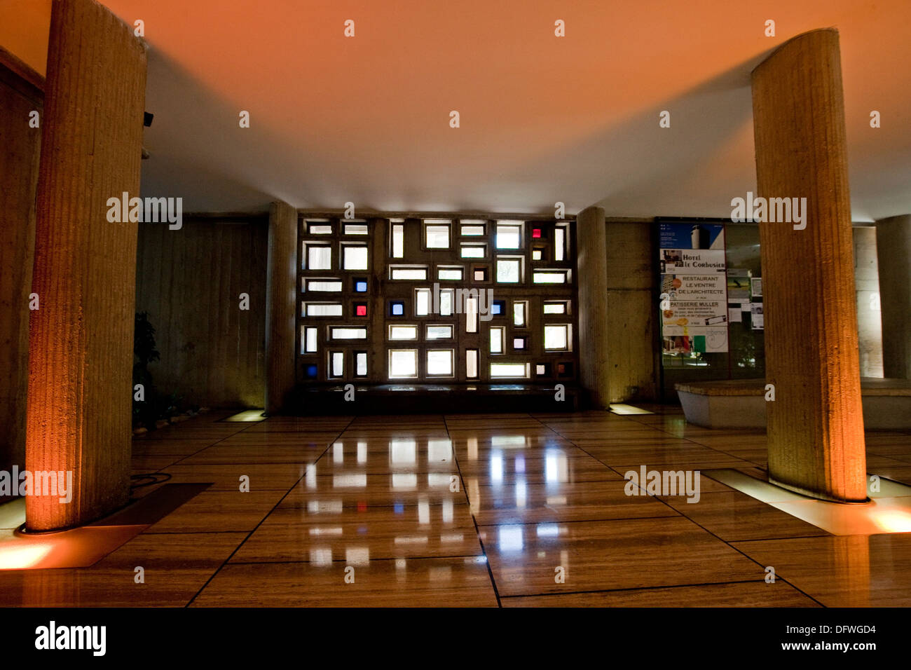 Reception area of modernist residential housing The Unité d'Habitation designed  by Le Corbusier, with - Stock Image