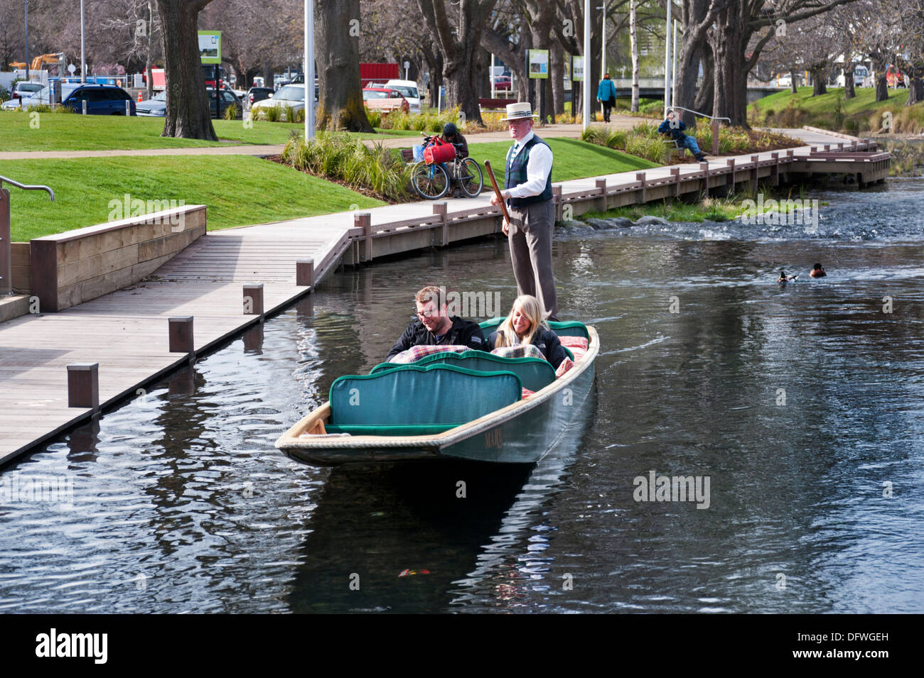 Christchurch, South Island, New Zealand. Traditional punting on the Avon River. - Stock Image