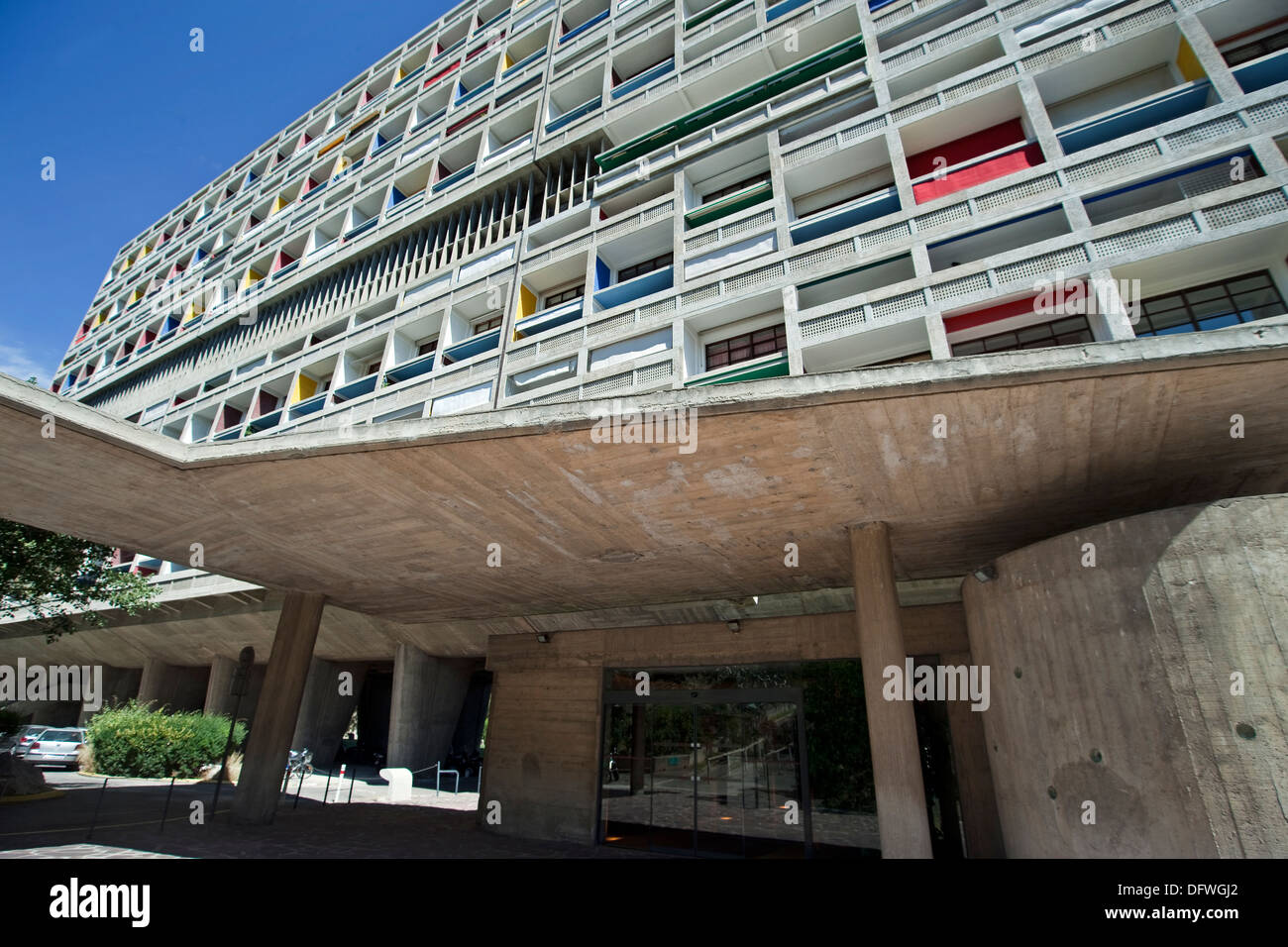 The front elevation of modernist residential housing The Unité d'Habitation designed  by Le Corbusier, - Stock Image