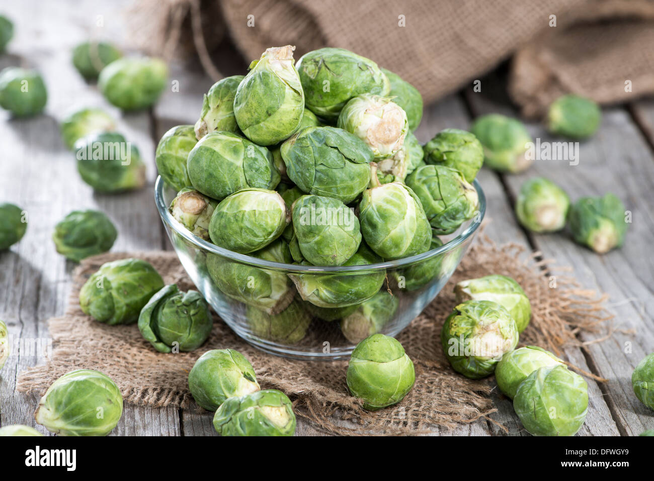 Portion of raw Brussel Sprouts - Stock Image