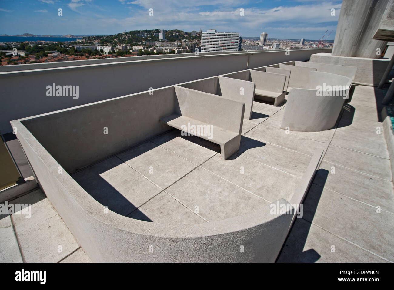 The roof top view terrace on the modernist residential housing The Unité d'Habitation designed  by Le Corbusier - Stock Image