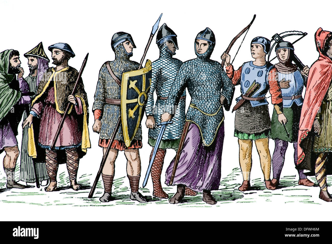 History. Medieval Europe. Normandy. 1000-1100. Norman costumes. Engraving. Later colouration. - Stock Image