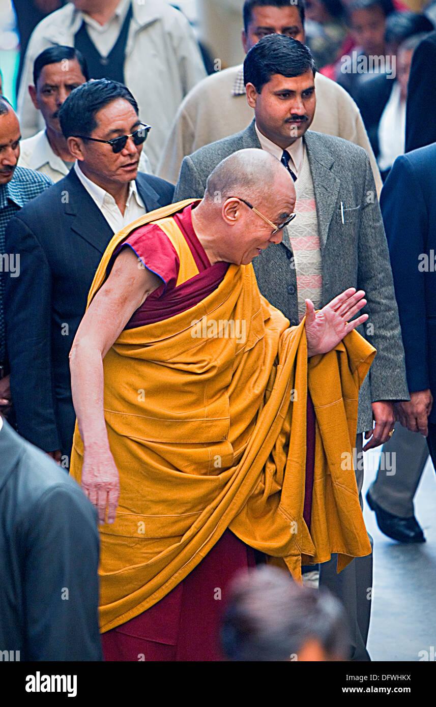 His holiness the Dalai Lama, at Namgyal Monastery,in Tsuglagkhang complex. McLeod Ganj, Dharamsala, Himachal Pradesh state, India, Asia - Stock Image