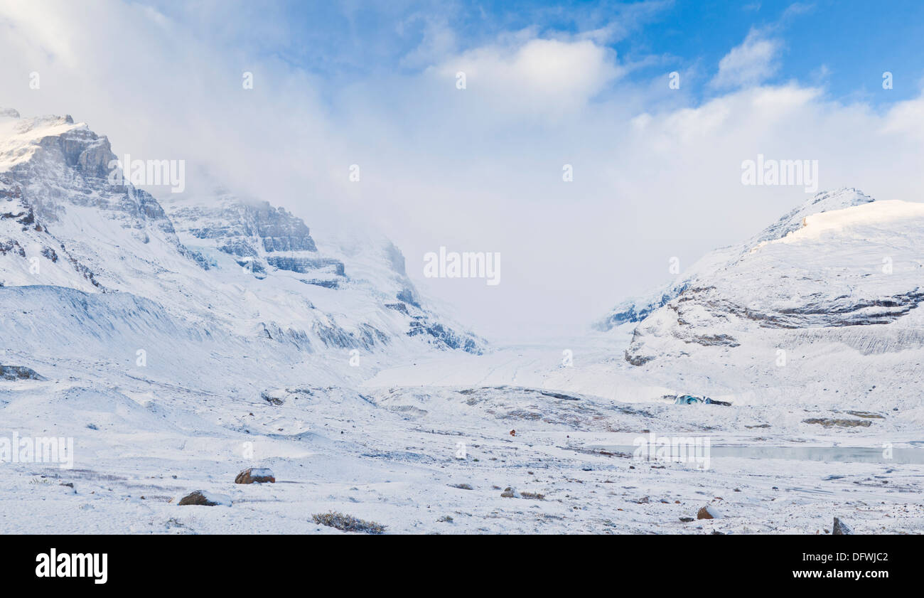 Panorama of the Columbia Icefield Athabasca glacier  in Jasper National Park Alberta Canada North America - Stock Image