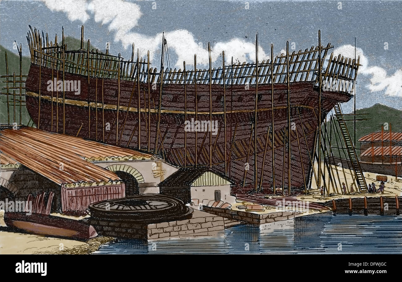 Ship of the line on the stocks. Colored engraving. 19th century. - Stock Image