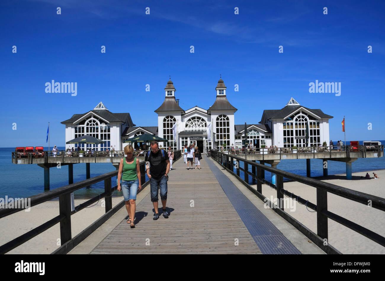 Sellin Pier, Ruegen Island, Baltic Sea Coast, Mecklenburg-Western Pomerania, Germany Stock Photo