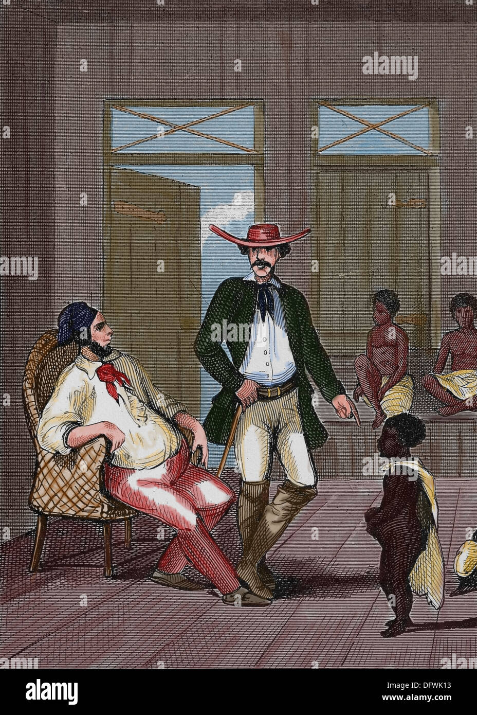 Brazilian slave trade. Colored engraving. 19th century. - Stock Image