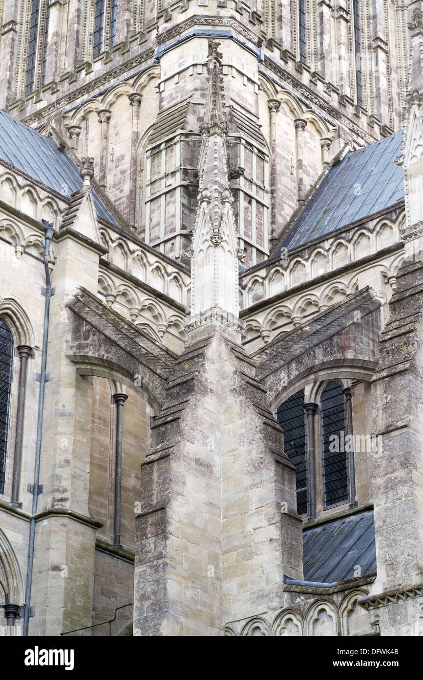 Example Of A Flying Buttress Architectural Feature On Salisbury Cathedral UK