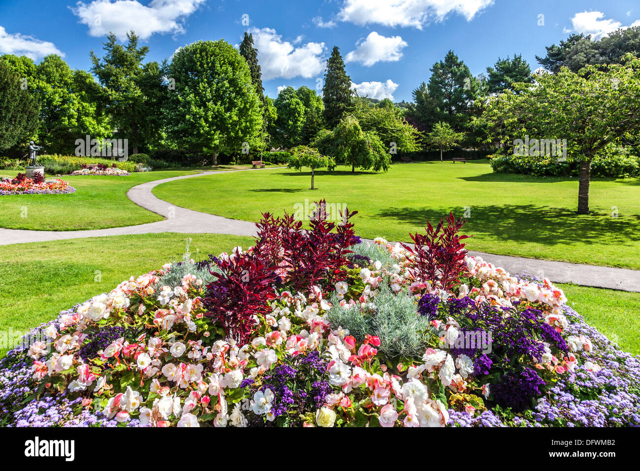 View of the Parade Gardens in Bath on a sunny summer's day. - Stock Image