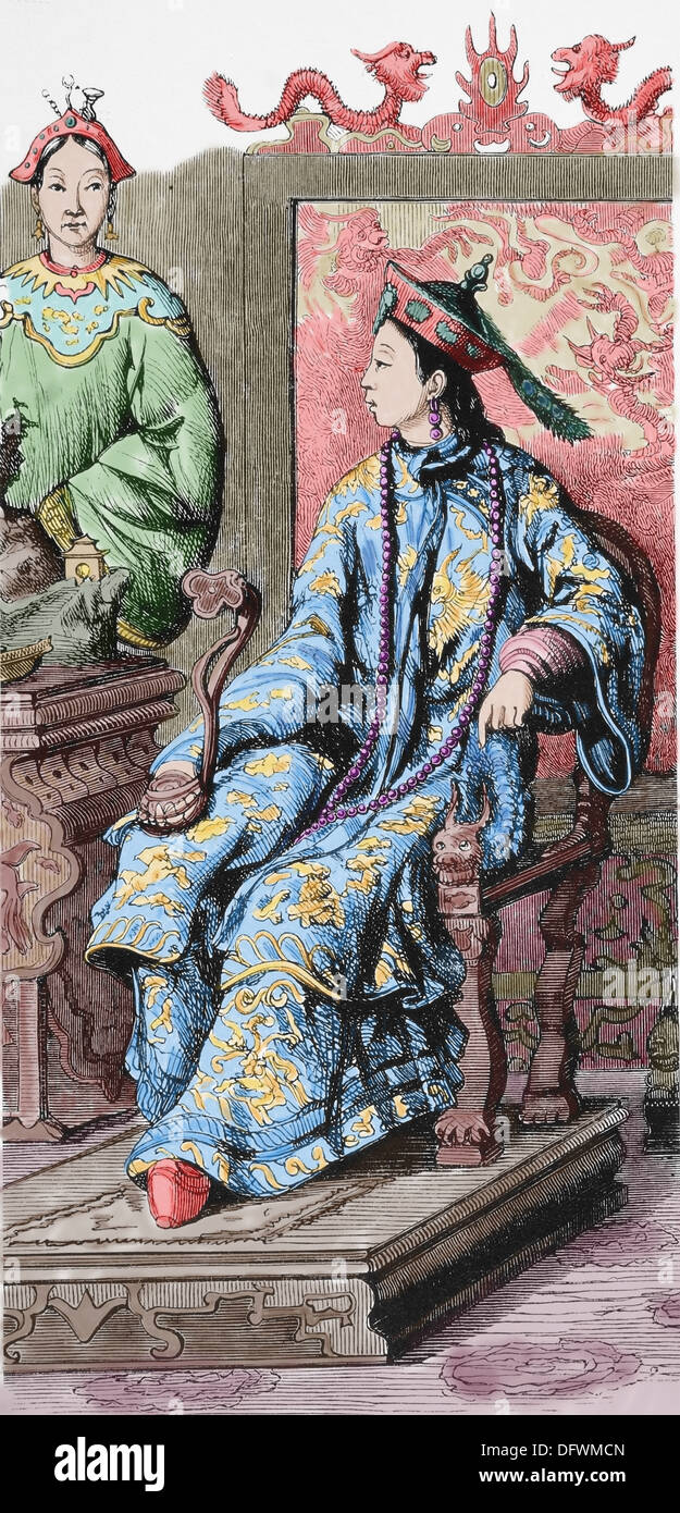 Asia. China. Society. Chinese aristocrats. C. 1840. Engraving, 19th century. Later colouration. - Stock Image