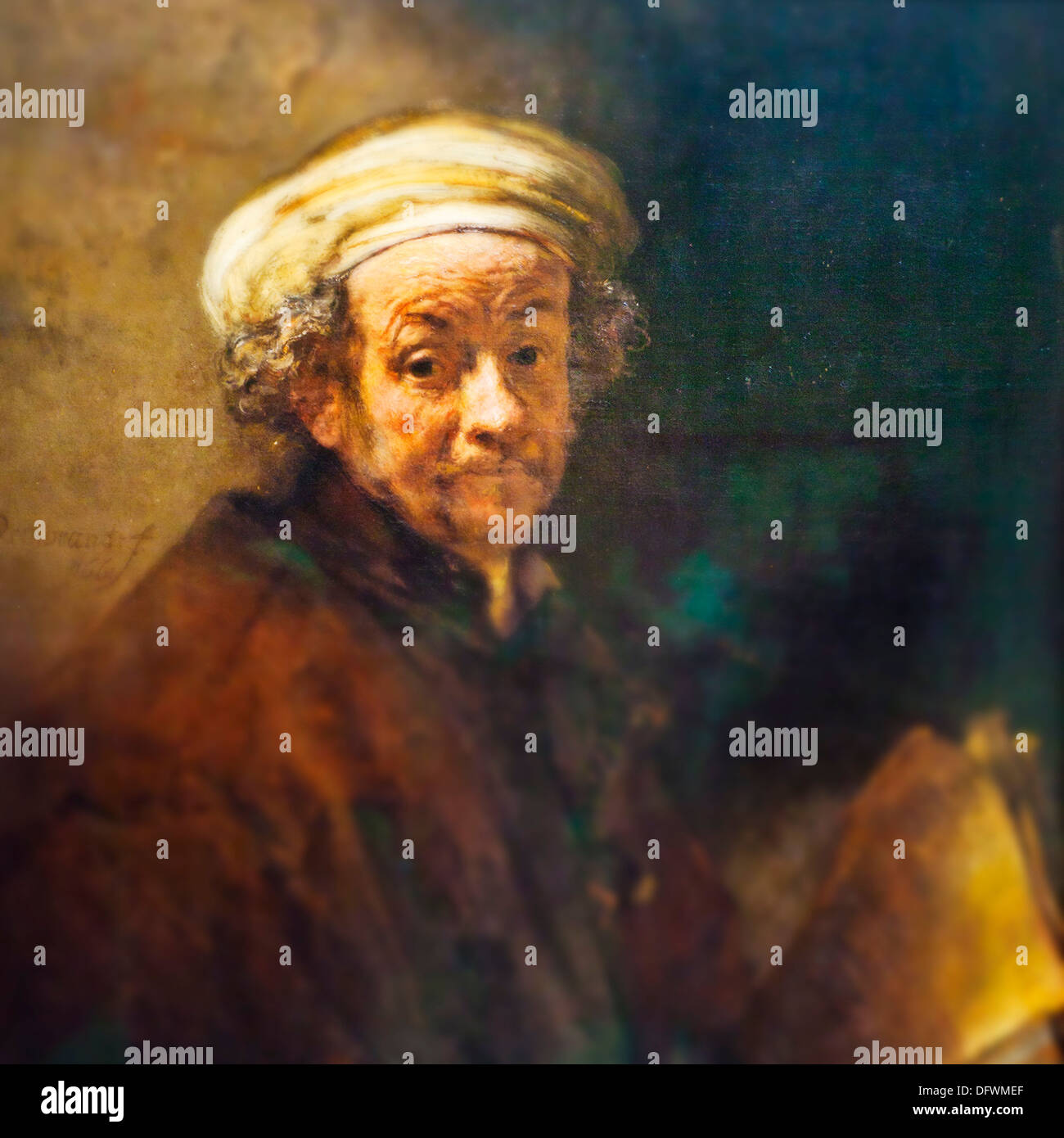 The painting by Rembrandt ´Selfportrait as apostle Saint Paul, 1661, Rembrandt Harmensz van Rijn 1606-1669 Dutch  Oil on - Stock Image