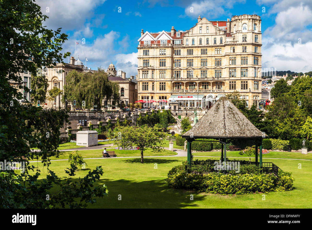 View over the Parade Gardens towards the former Empire Hotel in Bath, Somerset, UK. - Stock Image