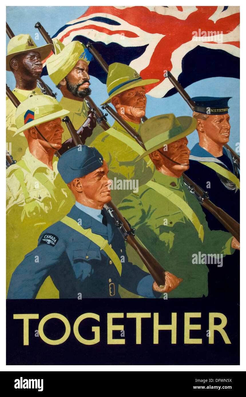 Commonwealth WW2 propaganda poster showing unity during wartime - Stock Image