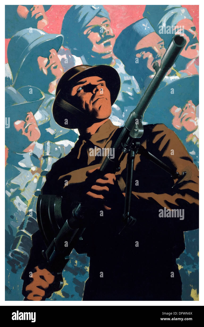 WW2 propaganda poster with British soldier carrying a machine gun with background of soldiers from many nations - Stock Image