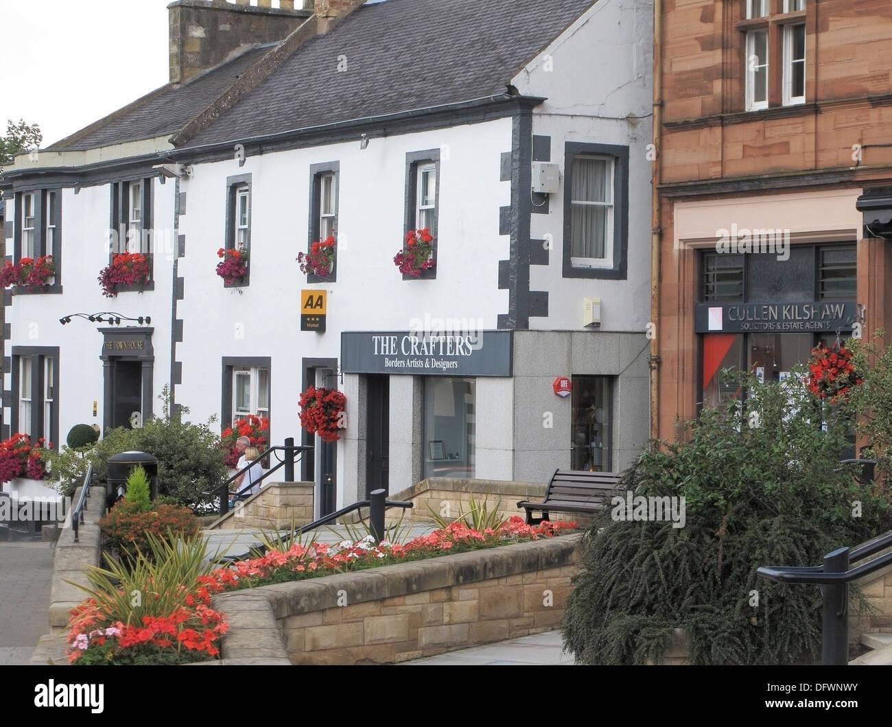 High Street, Melrose Town, Borders County, Scotland, UK - Stock Image