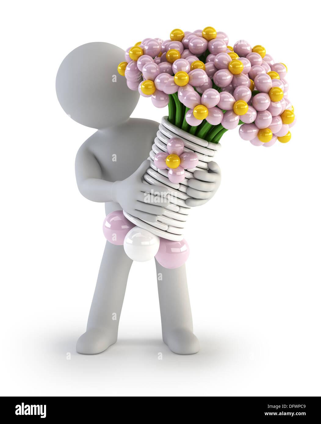 a little man holding a bouquet of balloon flower Stock Photo ...