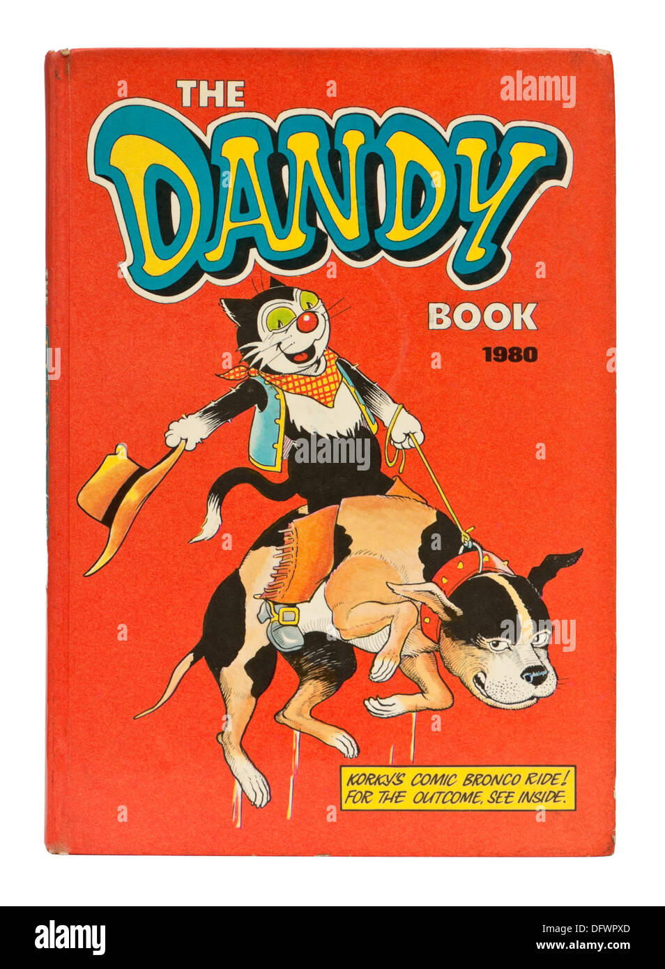 Vintage 1980 Dandy comic annual, featuring Korky the Cat and Desperate Dan - Stock Image