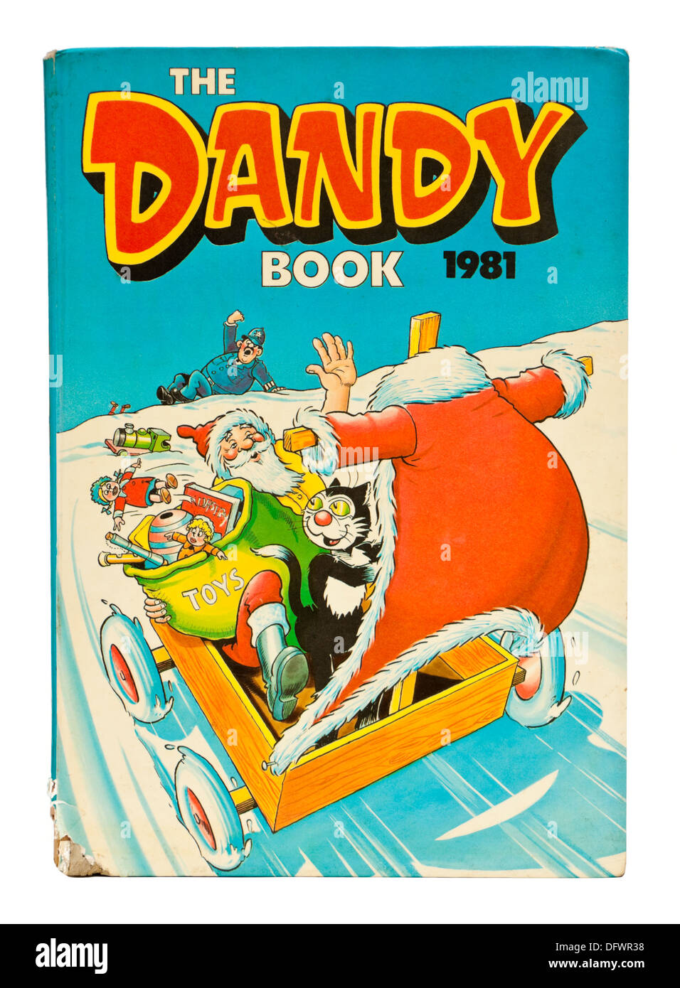 Vintage 1981 'Dandy' comic annual, featuring Korky the Cat and Desperate Dan - Stock Image