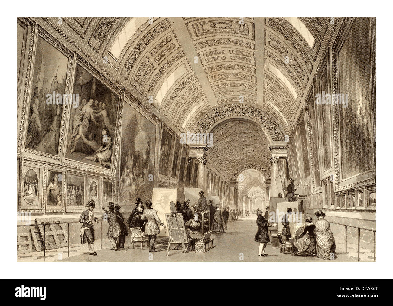Illustration by Thomas Allom English architect and artist (13 March 1804 – 21 October 1872)  Grande Galerie Louvre Paris France - Stock Image