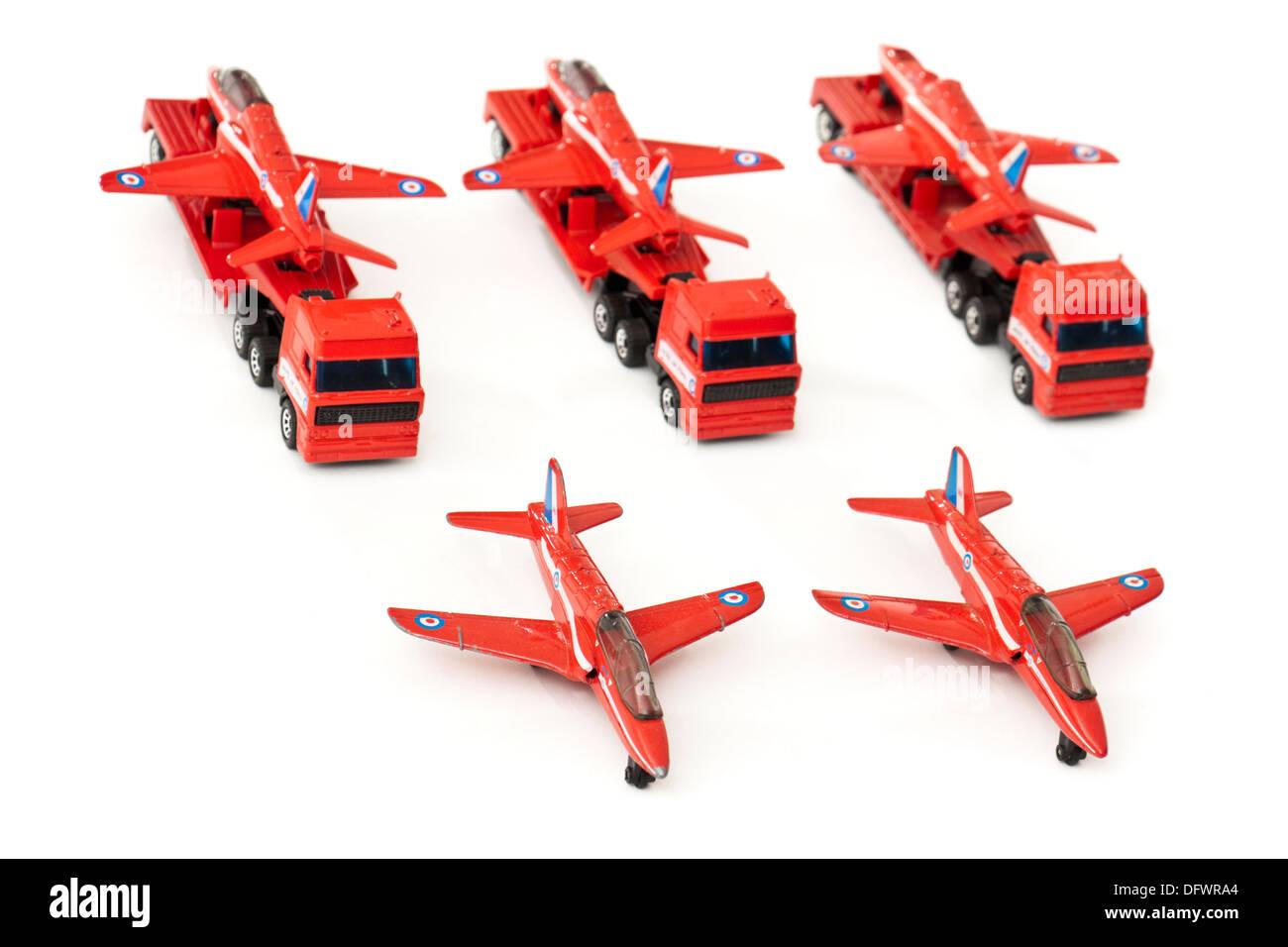 Matchbox (1991) diecast model replicas of the BAe Hawk Trainer Mk1 aeroplane on transporters - Stock Image