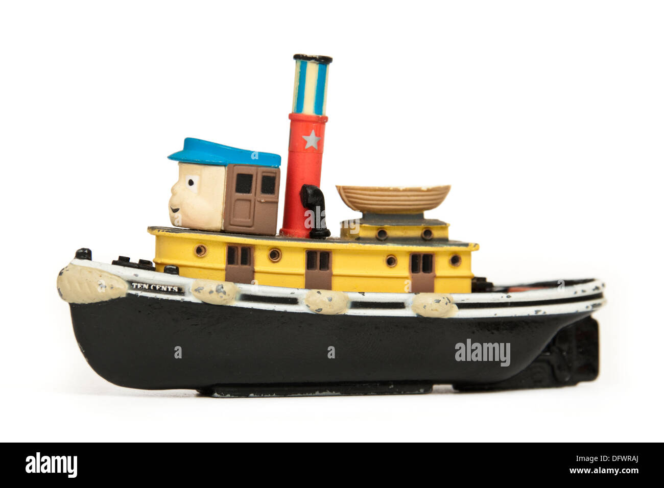 Ertl '10 Cents' diecast tug boat model from the 1988 British children's TV-series 'TUGS' - Stock Image
