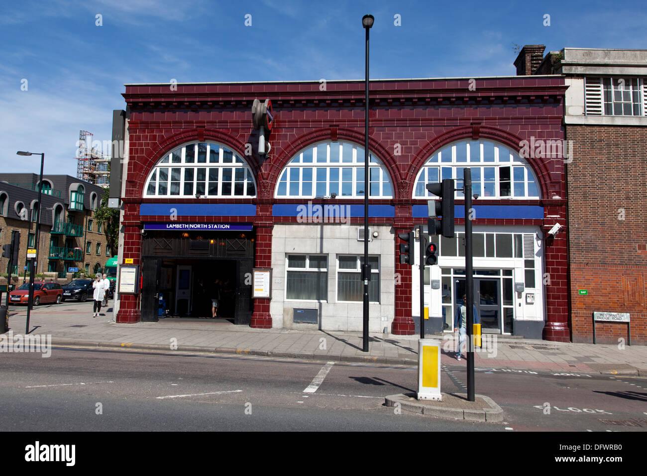 Lambeth North underground station designed by Leslie Green, London, UK - Stock Image