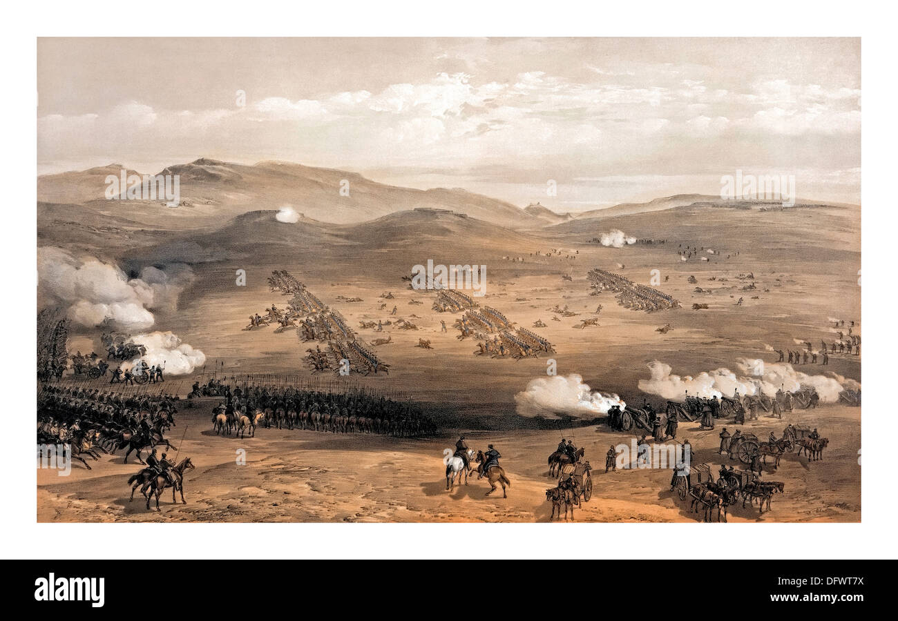 The 'Charge of the Light  Brigade' at Balaklava led by Major General Earl of Cardigan October 1854 - Stock Image