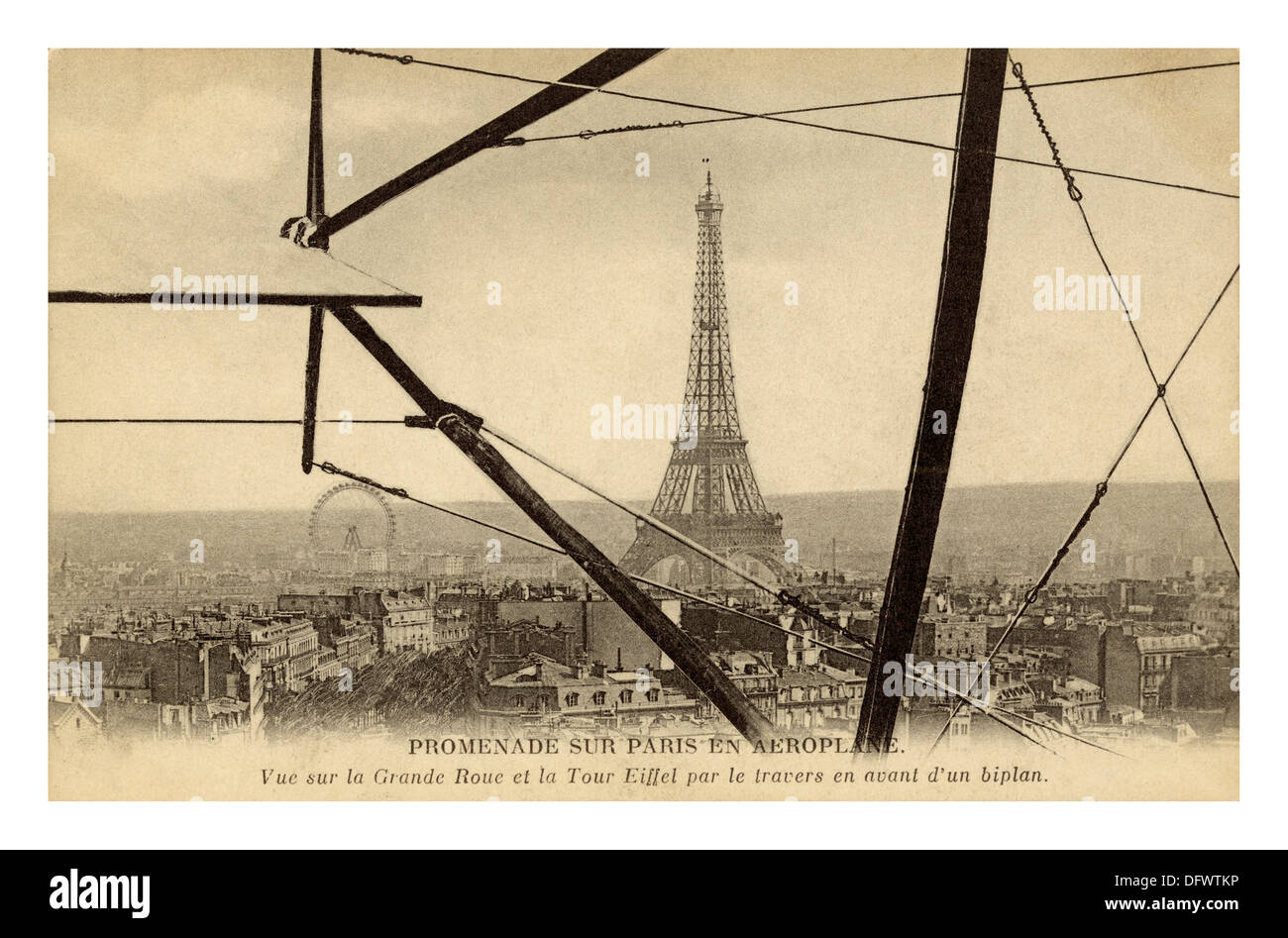 Historic aerial B&W image of Eiffel Tower Paris viewed from a biplane c1904 France - Stock Image