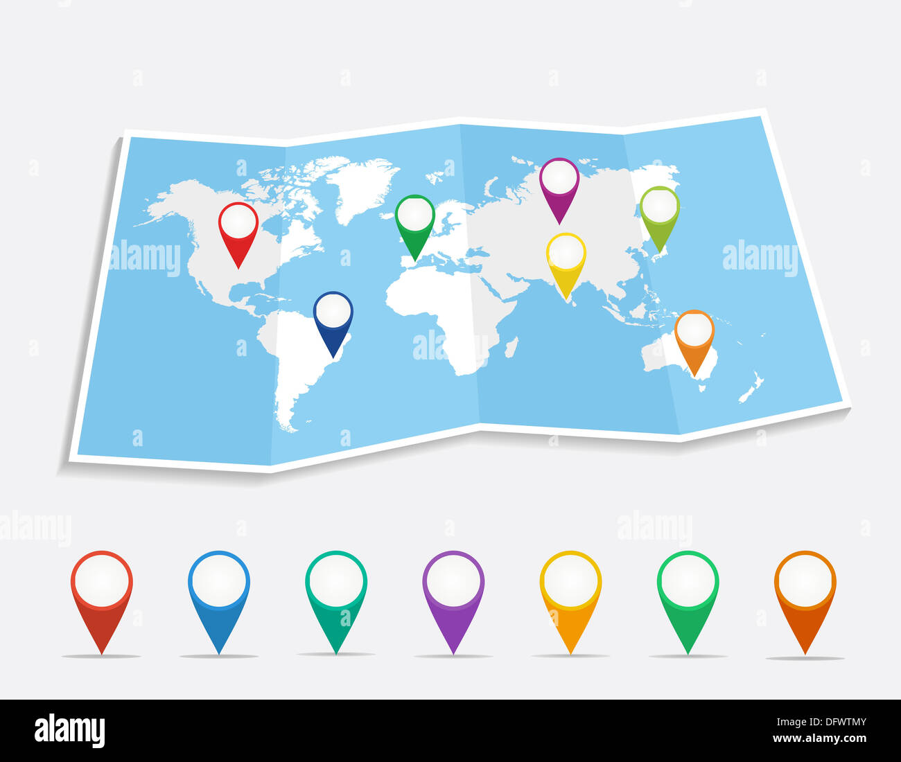 World map with geo position pins travel elements composition. EPS10 vector file organized in layers for easy editing.  - Stock Image