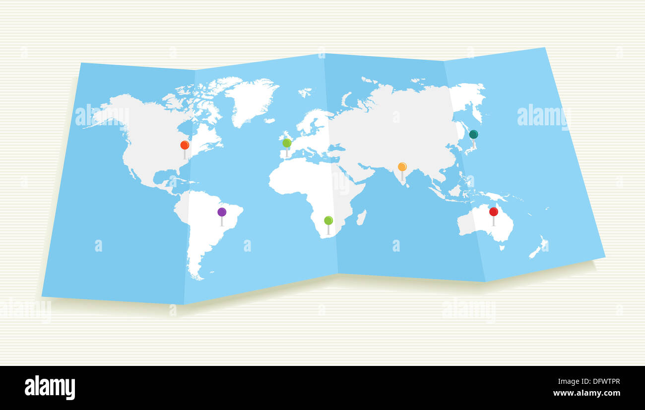 World map with GPS location pushpins travel elements illustration. EPS10 vector file organized in layers for easy editing.  - Stock Image