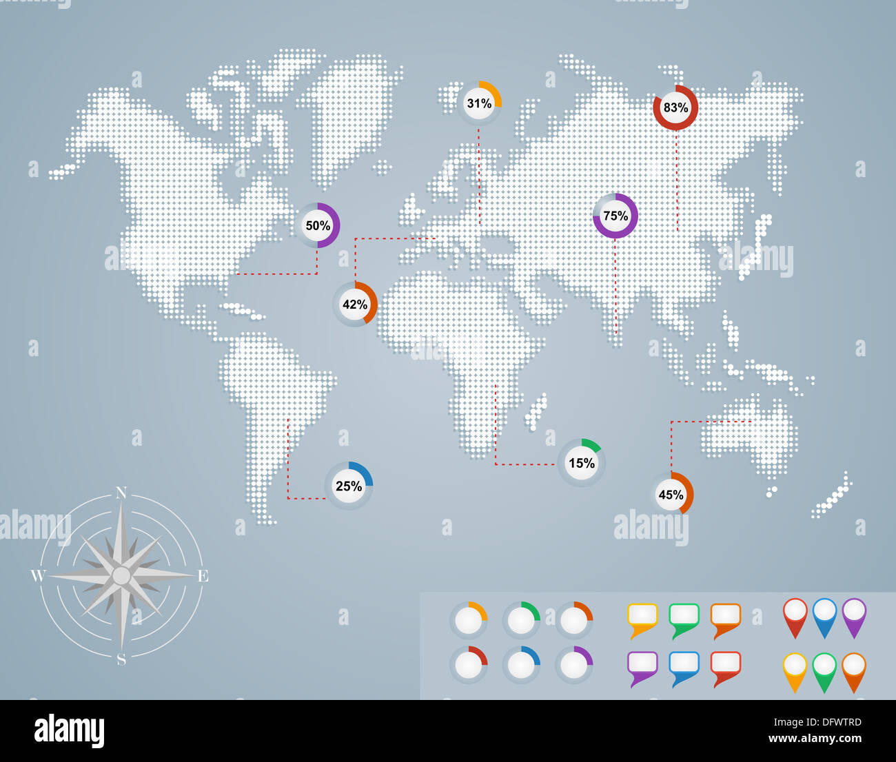 World map, geo position pointer icons infographics template. EPS10 vector file organized in layers for easy editing. - Stock Image