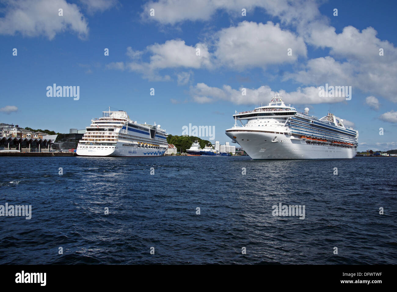 Cruise ship Aida Luna in Stavanger Harbour Norway with Grand Princess arriving - Stock Image