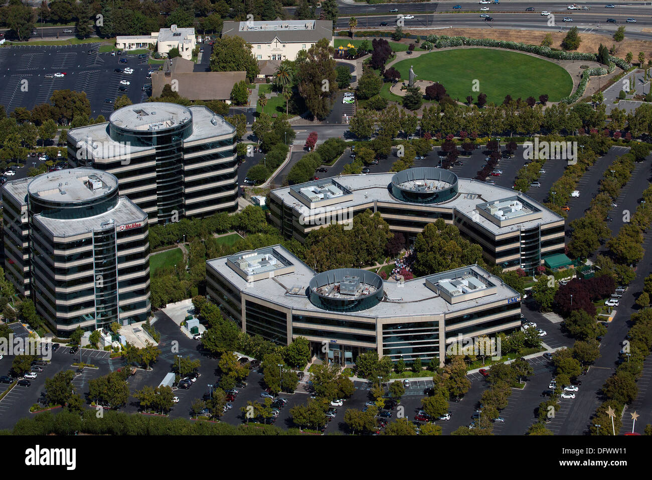 aerial photograph corporate headquarters McAfee, Inc. Santa Clara, California - Stock Image