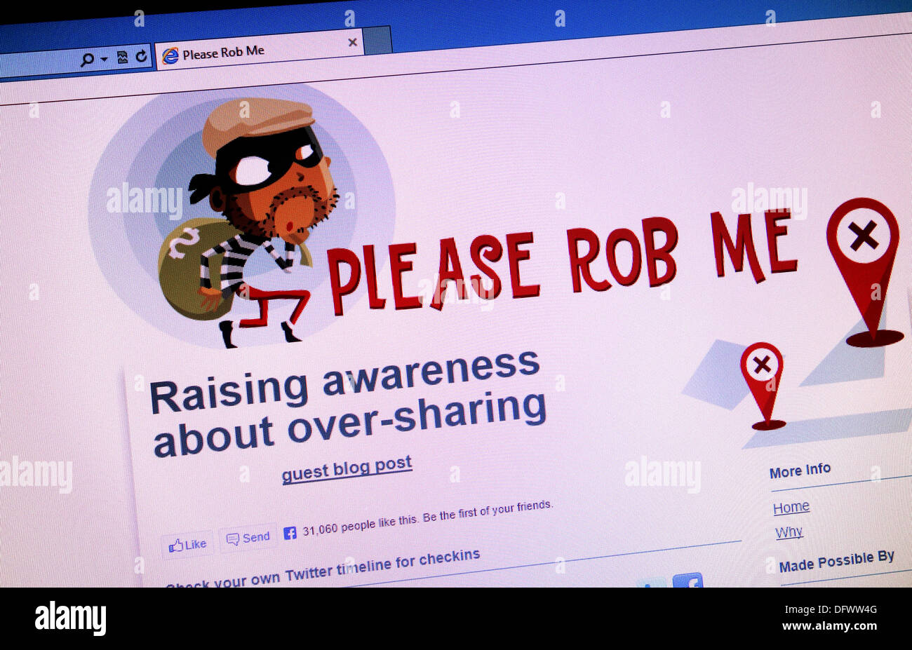 The ' please rob me ' web site - Stock Image